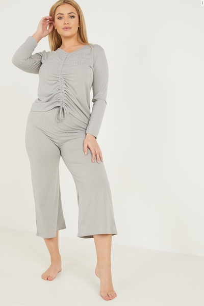 Curve Grey Ribbed Culotte Trousers
